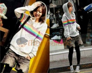 Hoodie Rainbow Bahan Rajut. All Size Fit to L