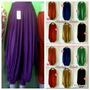 Celana Aladin besar All size Bahan Spandex Rayon dan Jersey Motif dan Polos Rp 70.000