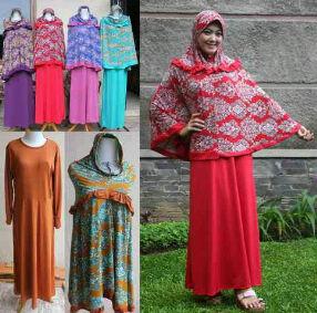Gamis Set Bergo Batik All Size fit XL Mat. Spandex Jersey Rp 125.000 ecer Rp 115.000 grosir